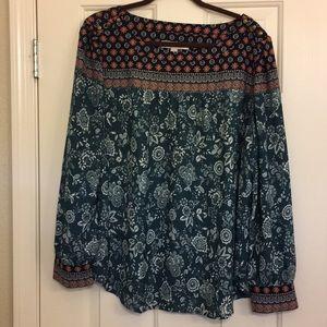 LOFT long sleeve multi colored blouse